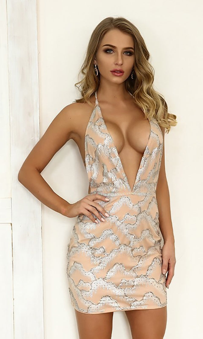 You're It Beige Silver Glitter Geometric Pattern Sleeveless Spaghetti Strap Halter Backless Plunge V Neck Sheer Mesh Bodycon Mini Dress