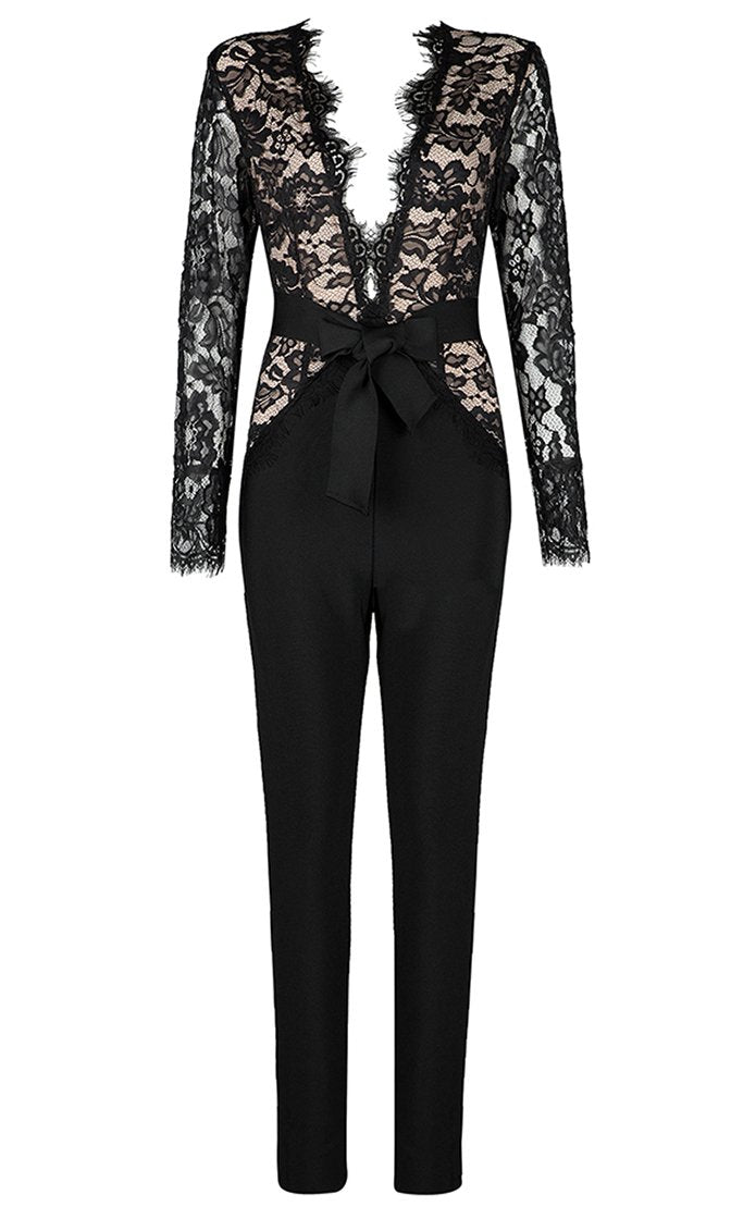 Lashing Out Black Lace Long Sleeve Plunge V Neck Tie Belt Bandage Skinny Jumpsuit