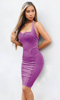 Working It Out Sleeveless Velvet V Neck Shirred Halter Bodycon Midi Dress - 2 Colors Available - Sold Out