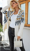 Fair Weather Friend Ikat Pattern Long Sleeve Open Front Cardigan Sweater - 2 Colors Available