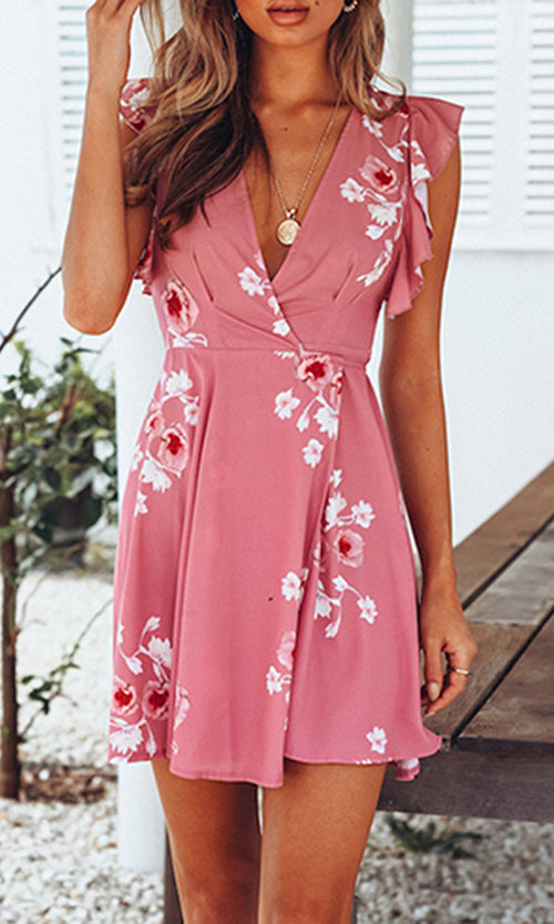 Look At Me Pink Floral Pattern Sleeveless Ruffle V Neck Cross Wrap Casual Mini Dress