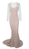Special Moments White Glitter Geometric Pattern Long Sleeve Sheer Boat Neck Fish Tail Mermaid Maxi Dress