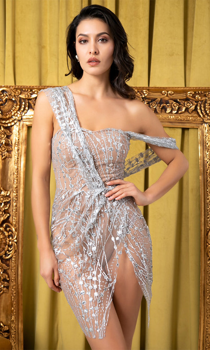 Dazzling Magic Off Shoulder Sling Cross Style Silver Beige Glitter Pattern Slit Leg Mini Dress