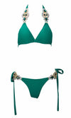 Beach Escape Teal Green Crystal Rhinestone Spaghetti Strap Triangle Top Tie Side Bikini Two Piece Swimsuit