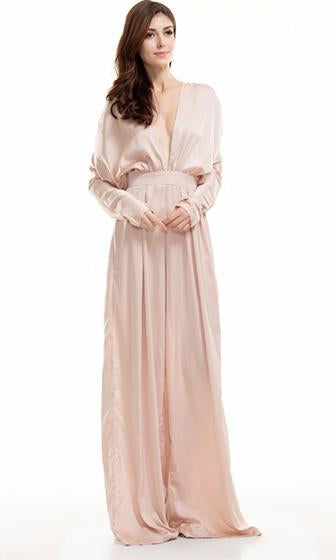 True Desire Nude Long Sleeve Plunge V Neck Wide Leg Loose Jumpsuit