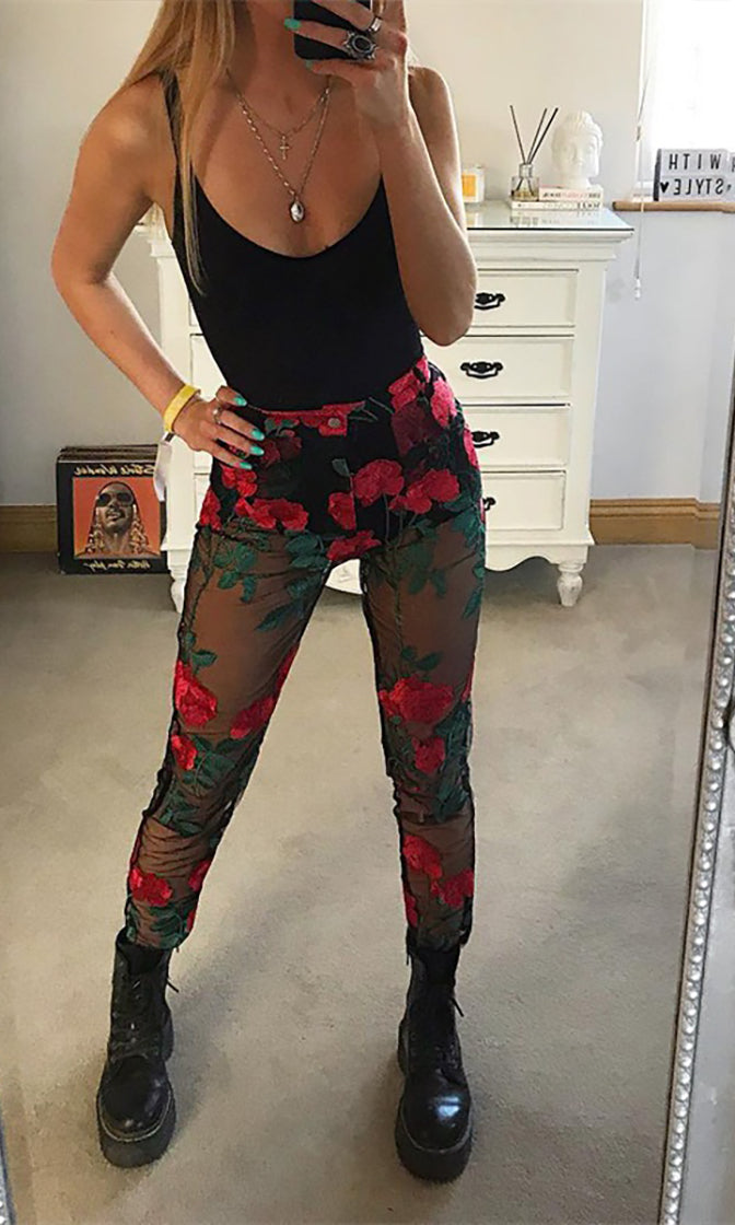 Rose Water Black Red Floral Pattern Sheer Mesh Embroidery Skinny Pants - Sold Out
