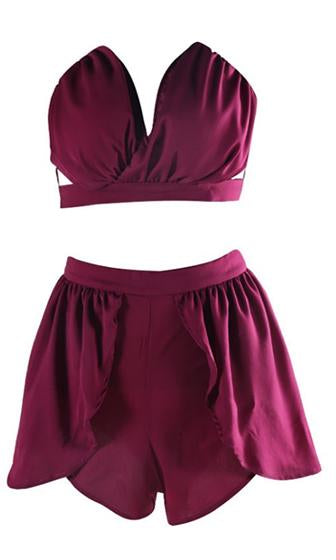 Time To Shine Burgundy Wine Strapless Plunge V Neck Crop Top Tulip Short Two Piece Romper Playsuit