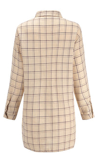 My Boyfriend's Beige Black Plaid Pattern Long Sleeve Button Front Casual Mini Shirt Dress - Sold Out