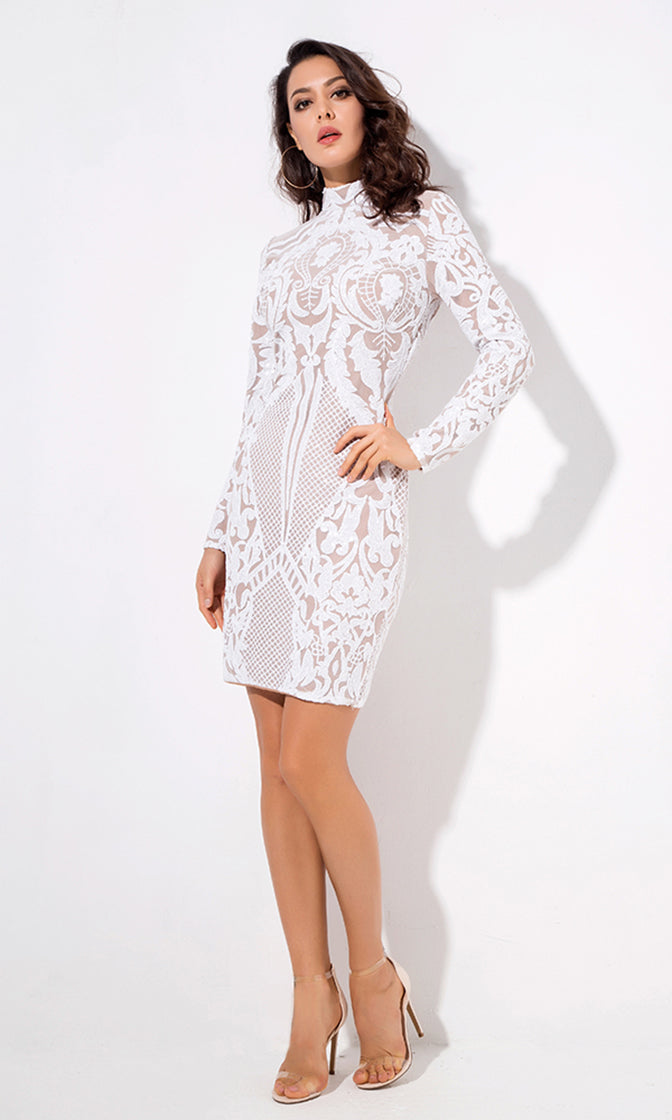 Spark A Movement White Sequin Geometric Pattern Long Sleeve Mock Neck Bodycon Mini Dress