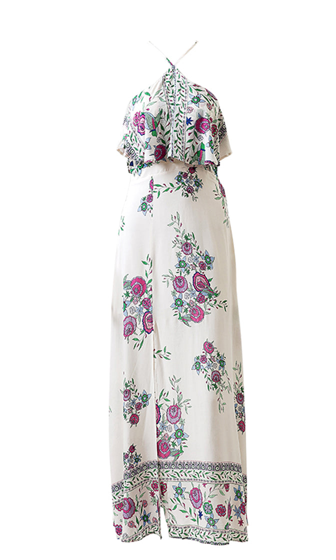 Living In Eden White Floral Pattern Sleeveless Spaghetti Strap Halter Ruffle Cut Out Casual Maxi Dress