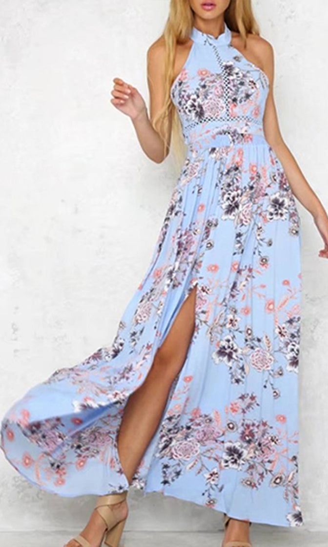 Sweet Symphony Sky Blue Floral Pattern Sleeveless Halter Backless Bow Side Slit Casual Maxi Dress - Sold Out