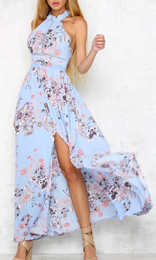 Sweet Symphony Sky Blue Floral Pattern Sleeveless Halter Backless Bow Side Slit Casual Maxi Dress