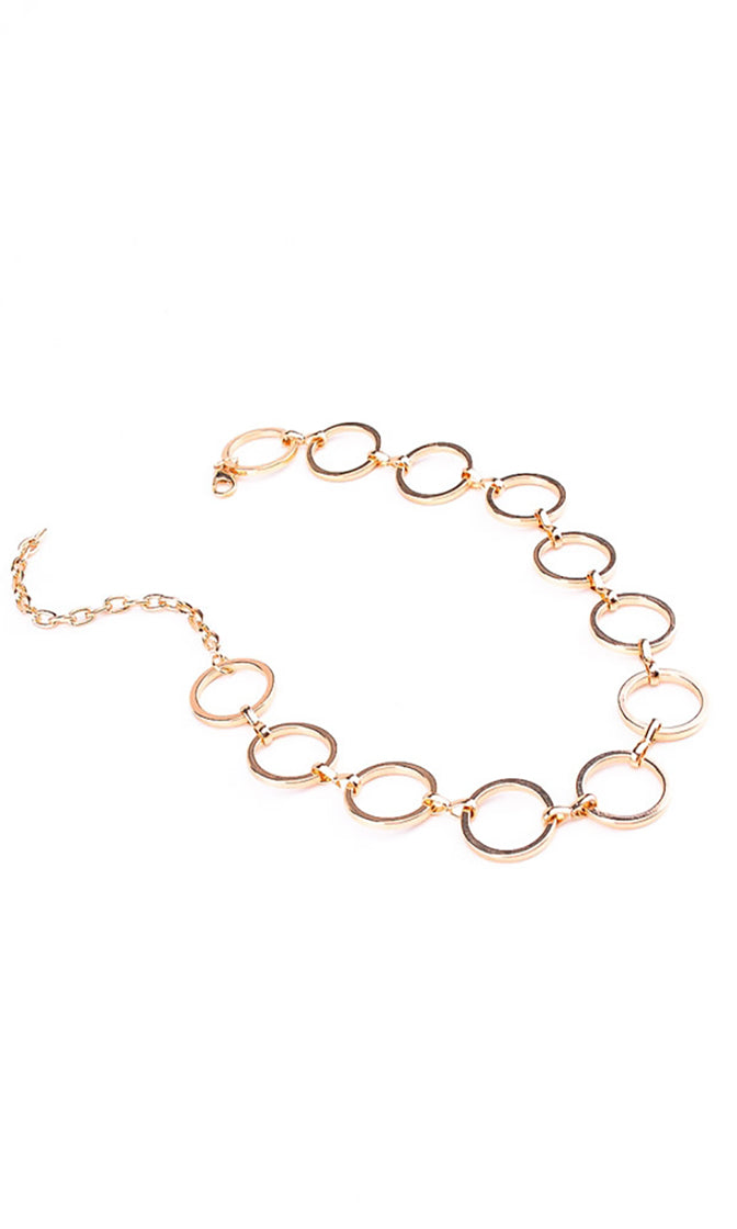Round and Round Metal Open Circle Choker Necklace - 2 Colors Available