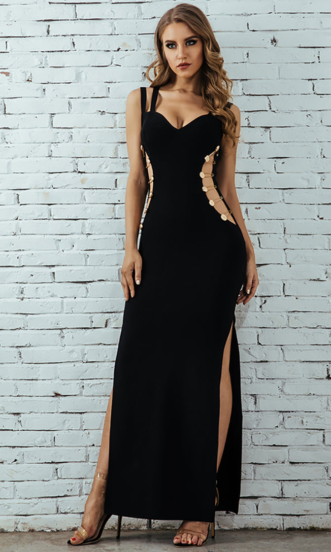 Out Of Chances Black Sleeveless Double Strap V Neck Cut Out Sides Double Slit Bodycon Bandage Maxi Dress