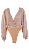 Play List Long Dolman Sleeve Crinkle Cross Wrap V Neck Bodysuit Top - 4 Colors Available