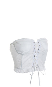 Lush Temptation White Sheer Mesh Strapless Bustier Lace Up Ruffle Corset Crop Top - Sold Out