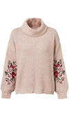 Fall Florals Long Lantern Sleeve Floral Pattern Embroidery Cowl Neck Pullover Sweater - 2 Colors Available
