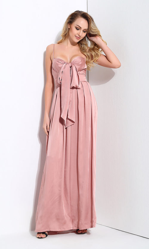 Coming To Play Pink Sleeveless Spaghetti Strap Bow Wide Leg Jumpsuit