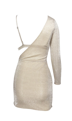 I've Got A Secret Silver Stretchy Lurex Metallic Glitter One Long Sleeve Bra Top Cut Out Side Bodycon Mini Dress