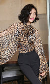 Going Glam Leopard Pattern Long Lantern Sleeve Bow Neck Blouse Top - Sold Out
