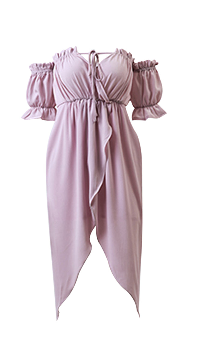 Key West Short Sleeve Casual Off The Shoulder Ruffle Tie Front Asymmetrical Maxi Dress