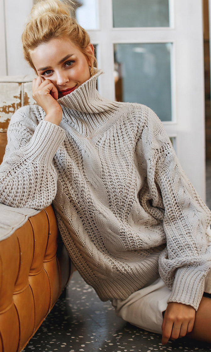Fireside Romance Taupe Long Lantern Sleeve Cable Knit Turtleneck Pullover Sweater