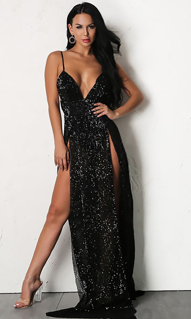All For Lust Sequin Sleeveless Spaghetti Strap Plunge V Neck Double Slit Maxi Dress - 3 Colors Available