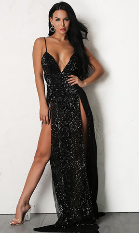 Mystery Girl Black Sequin Sleeveless Spaghetti Strap Plunge V Neck Backless Double Slit Maxi Dress - New Color!