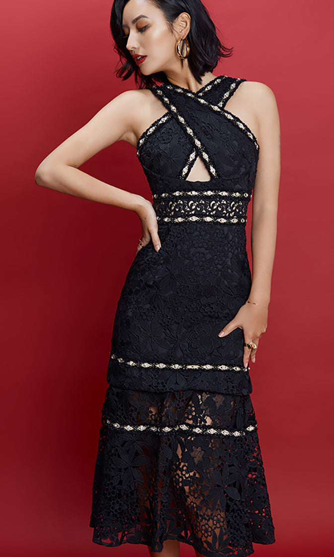 Share The Wealth Black Sheer Lace Sleeveless Cross Halter Rhinestone Cut Out Waist Midi Dress