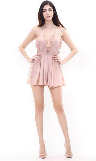 Montauk Mistress Nude Sleeveless Spaghetti Strap Ruffle Plunge V-Neck Backless Halter Romper Playsuit