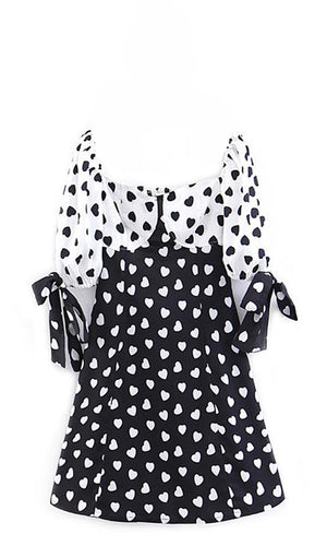 Good For The Soul Black White Heart Pattern Short Sleeve Bow V Neck Cut Out Back Flare A Line Casual Mini Dress - Sold Out