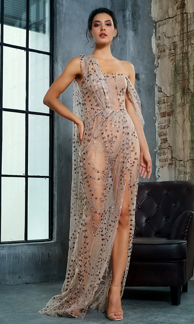 Endless Night Gold Sheer Mesh Glitter Floral Pattern Sleeveless Draped Sleeve High Slit Maxi Dress