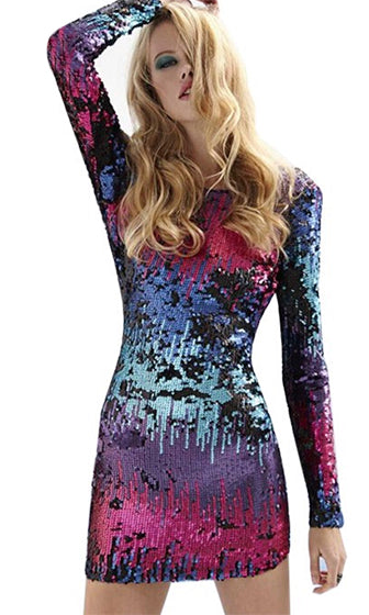 Jem and the Holograms Black Blue Pink Purple Mint Sequin Long Sleeve Scoop Neck Backless Bodycon Mini Dress - Sold out