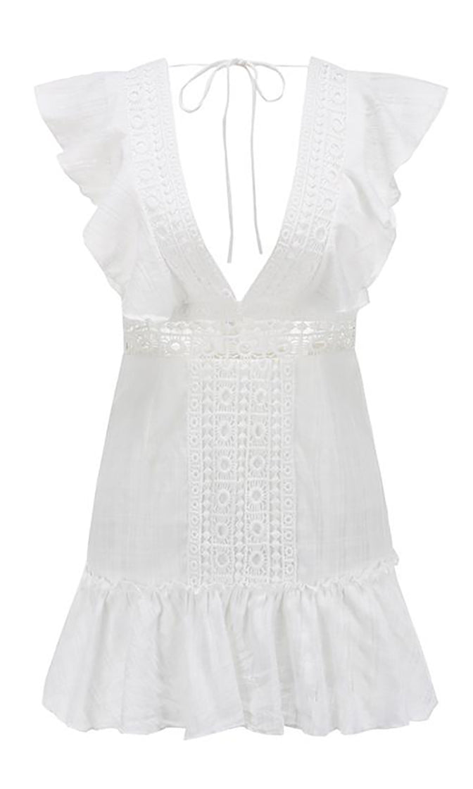 Penny For Your Thoughts White Flutter Cap Sleeve V Neck Lace Trim Embroidery Open Back Ruffle Flare A Line Casual Mini Dress