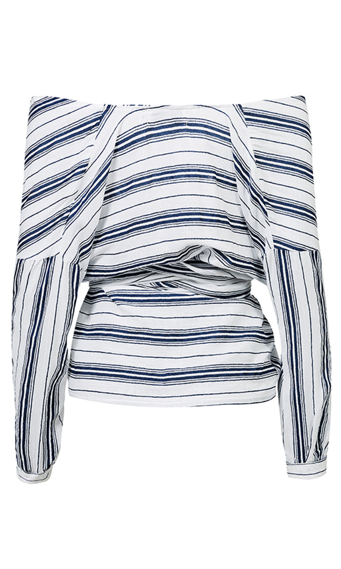 Instant Happiness Long Sleeve Vertical Stripe Pattern Off The Shoulder V Neck Wrap Tie Belt Blouse Top - 2 Colors Available