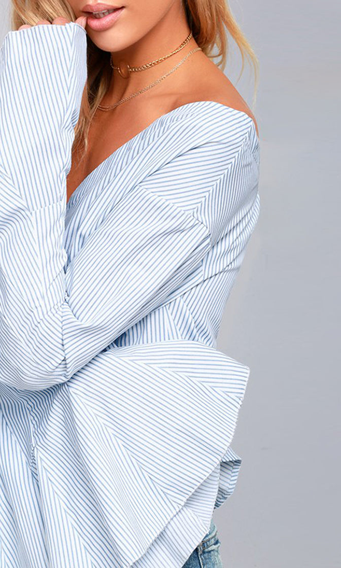 Hot On My Trail Blue Vertical Stripe Pattern Long Flare Sleeve Off The Shoulder Blouse Top - Sold Out