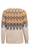 Fair Isle Frenzy Light Brown Geometric Pattern Long Sleeve Crew Neck Pullover Sweater