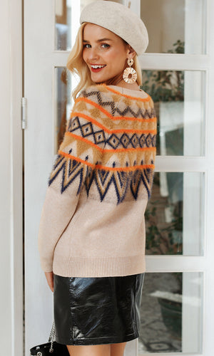 Fair Isle Frenzy Light Brown Geometric Pattern Long Sleeve Crew Neck Pullover Sweater - Sold Out