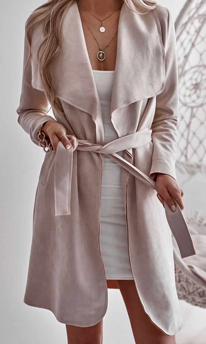 On The Go Pink Faux Suede Long Sleeve Wide Collar Open Front Tie Waist Trench Coat Outerwear