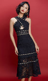 Share The Wealth Black Sheer Lace Sleeveless Cross Halter Rhinestone Cut Out Waist Midi Dress - Sold Out