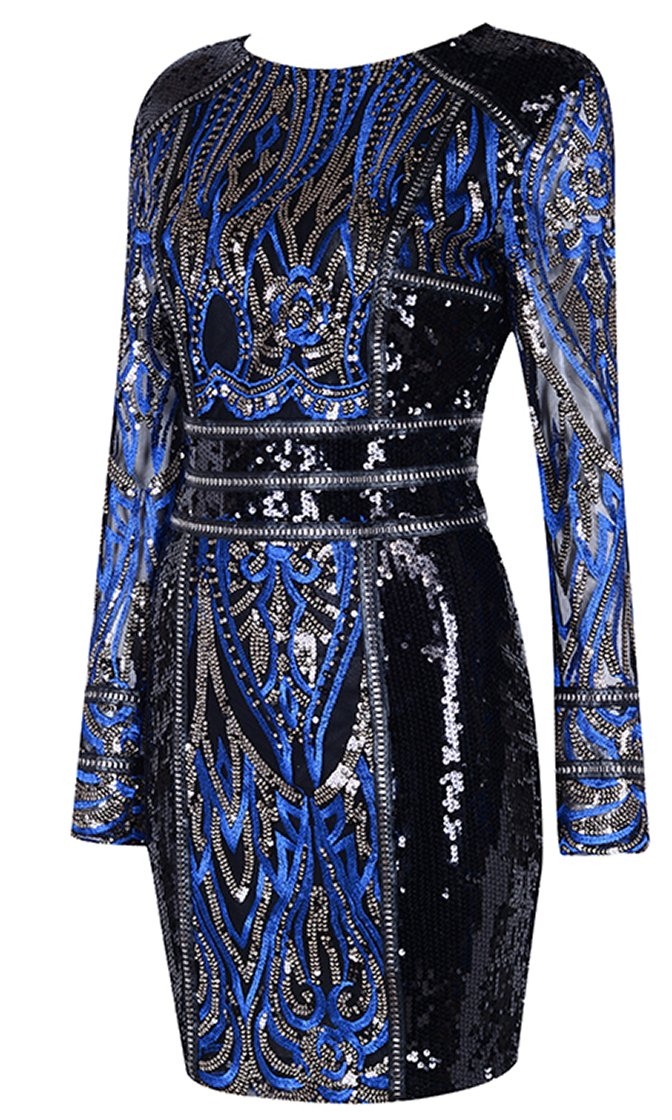 Keep Wishing Black Blue Sequin Beaded Geometric Pattern Long Sleeve Round Neck Bodycon Mini Dress