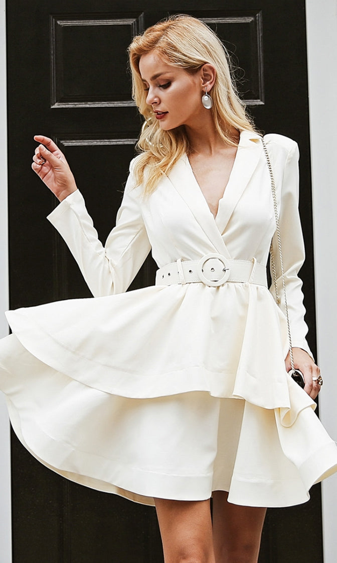 East Side Romance White Long Sleeve Buckle Belt Tiered Flare A Line Midi Dress