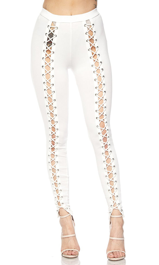 My Way White Cut Out Lace Up Skinny Leggings