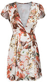 Roses Have Thorns White Floral Pattern Flutter Sleeve Plunge V Neck Split Wrap Casual Mini Dress - Sold Out
