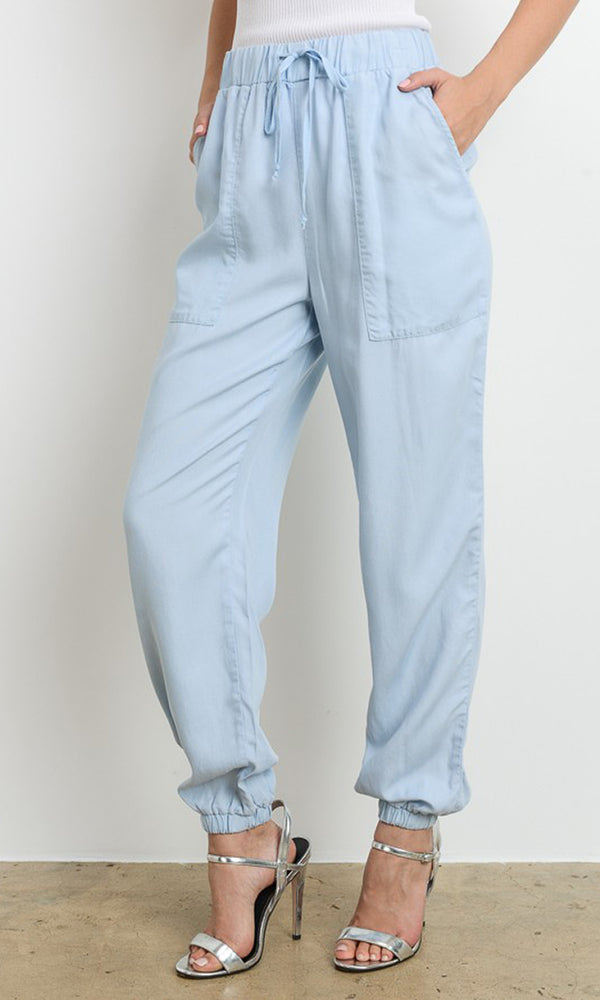 Totally Carefree Blue Elastic Waist Drawstring Slant Pocket Loose Jogger Pants