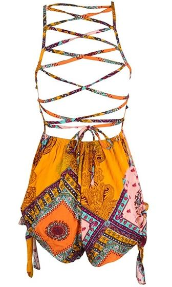 Lost In Paradise Yellow Pink Blue White Geometric Sleeveless Halter V Neck Lace Up Back Short Romper Playsuit