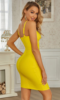 Toxic Crush Yellow Sleeveless V Neck Crisscross Asymmetrical Hem Bandage Bodycon Mini Dress