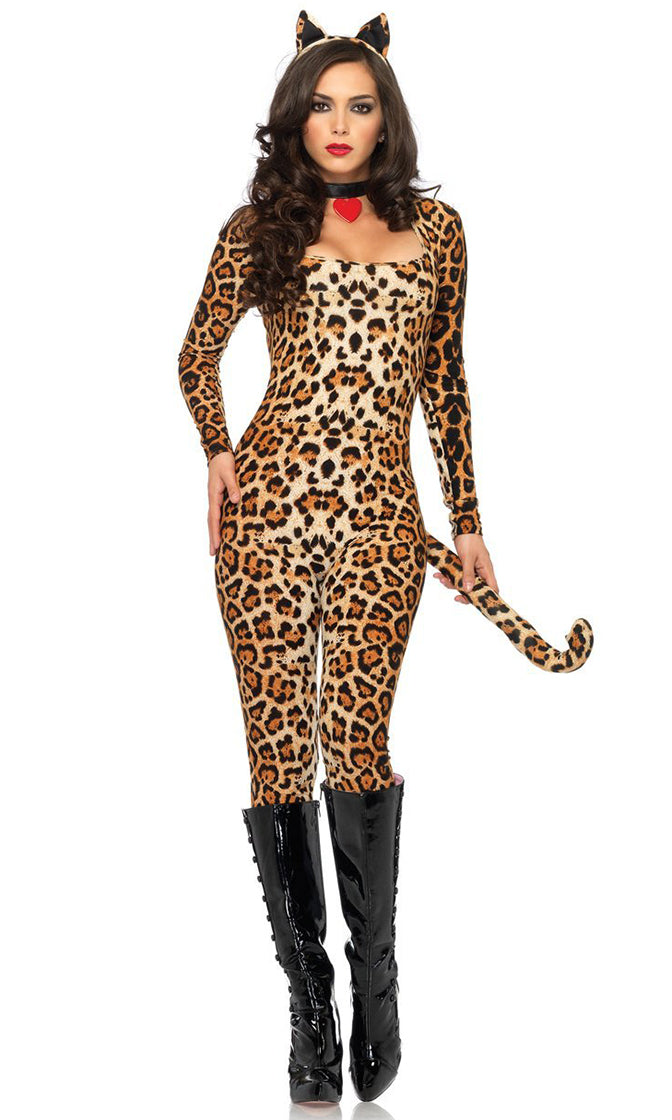 Cougar Vibes Leopard Print Animal Pattern Long Sleeve V Neck Choker Bodycon Jumpsuit Halloween Costume