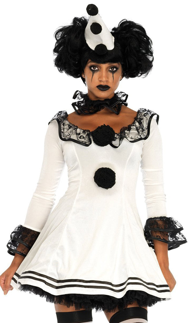 Parisian Clown White Black 3/4 Sleeve Ruffle Lace Scoop Neck Flare A Line Mini Dress Halloween Costume