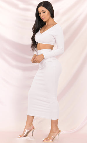Lights, Camera, Action White Ribbed Long Sleeve V Neck Crop Top Bodycon Two Piece Midi Dress - 2 Colors Available